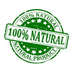 Damaged green round stamped - 100% natural product - vector eps