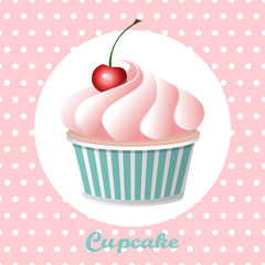 Cherry cupcake on a polka  dot background