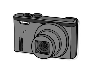 Digital Camera A Hand Drawn Vector Illustration Of Isolated On