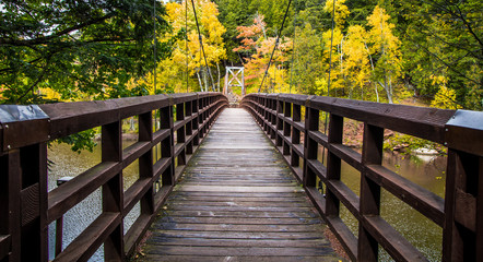 Autumn Hike In Michigan On The North Country Trail. Bridge over the Black River in the Ottawa National Forest on the North Country Trail in Michigan. Wall mural