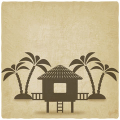 bungalow with palm trees