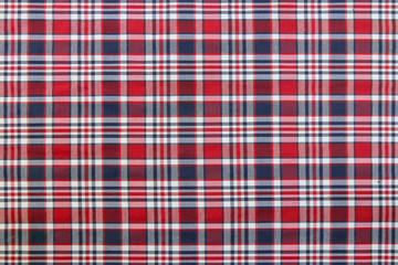 Plaid Patterns in Red, Dark Navy Blue, and White.