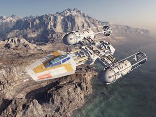 Raumschiff über einer Landschaft