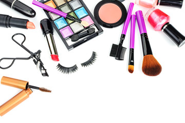 make up bag with cosmetics and brushes isolated on white backgro