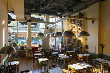Restaurant interior in the morning