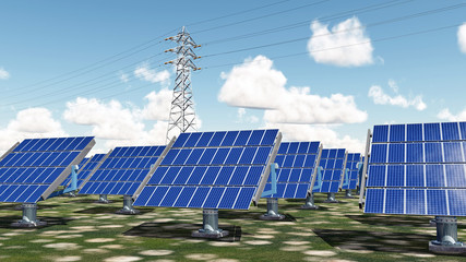 Solar power plant and overhead power line