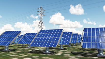 Solar power plant and overhead power line