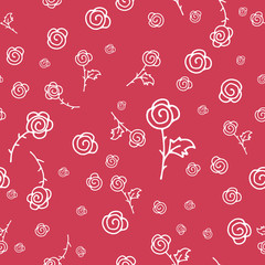 Seamless white roses pattern on red background