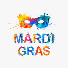 "Carnival ""mardi gras"" inscription and mask"
