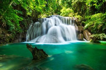 Huay Mae Khamin waterfall in tropical fprest, Thailand