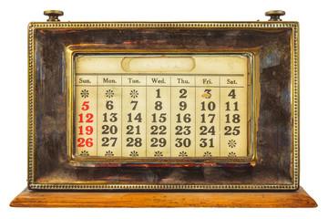 Vintage desktop calendar isolated on white