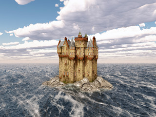 Scottish castle in the sea