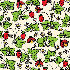 Vector seamless pattern with strawberry, flowers and ladybugs