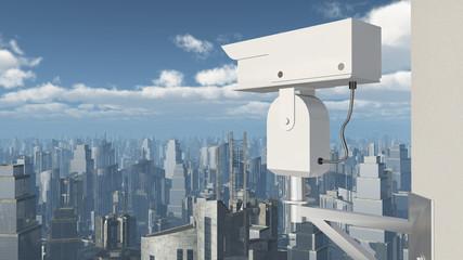 Überwachungskamera über einer Stadt