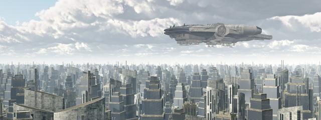 Raumschiff über einer Großstadt