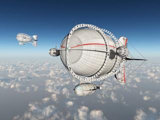 Fantasie Luftschiffe über den Wolken