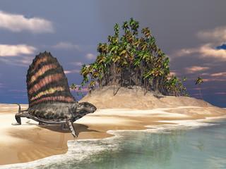 Pelycosaurier Dimetrodon am Meer