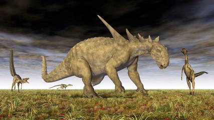 Sauropelta und Velociraptor