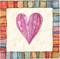 Heart, greeting card. Colorful watercolor can be used for wallpaper, pattern fills, web page background, surface textures, textiles, cards, postcards