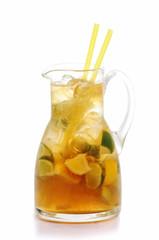 fresh lemon and lime lemonade isolated on white background, summer fruit drink photography