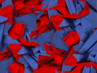 3D abstract background by red and blue shapes