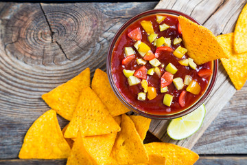 Nachos and salsa, Mexican snack