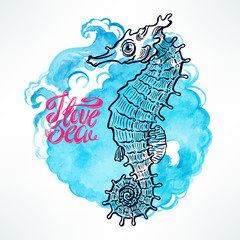 beautiful cute sketch seahorse on a watercolor blue background.