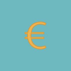 Euro flat icon. Vector illustration.