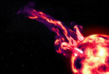 Sun and solar prominence