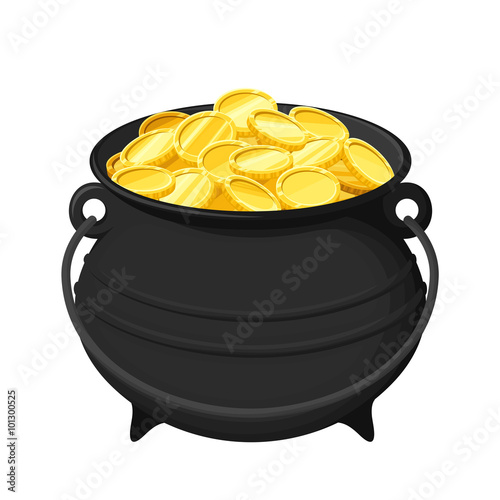 quotvector black pot of gold coins isolated on a white