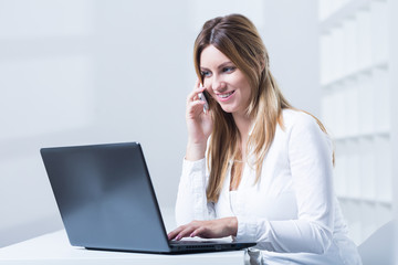 Woman working in telemarketing