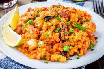Paella with seafood and chorizo sausages