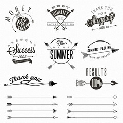 Set of symbols for Best Quality, Original Brand, New Product, Money Back. Thank you for choosing us, for your support, for shopping with us. Arrows collection. Arrow