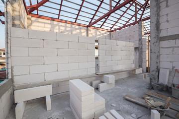 stack of white Lightweight Concrete block, Foamed concrete block