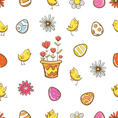 Vector seamless easter pattern with cartoon chickens, eggs and flowers on  white background.