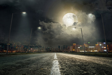 Wall Murals Night highway The road to the city 2