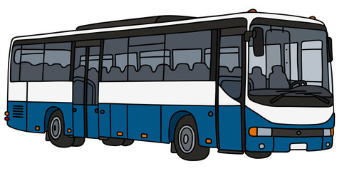 Blue and white bus / hand drawwing, vector illustration