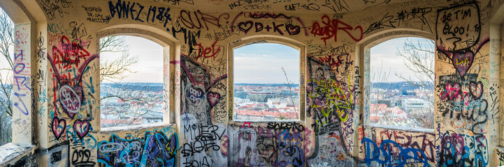 Fototapete - Prague, old Sightseeing Tower with Grafitti