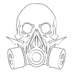 Vector punk steampunk lineart Skull with gas mask.