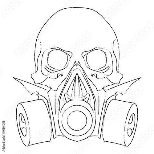 Vector Punk Steampunk Lineart Skull With Gas Mask
