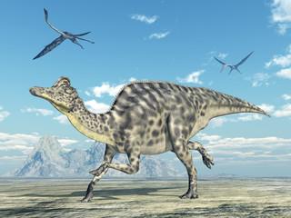 Dinosaurier Velafrons und Flugsaurier Quetzalcoatlus