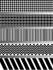 Abstract patterns and shapes in  five layers in this image completely in shades of bold black and white