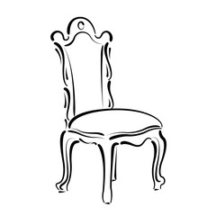 Vintage chair sketch. Chair illustration.