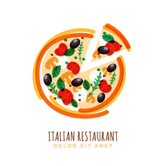 Hand drawn illustration of sliced italian pizza with tomato, mus