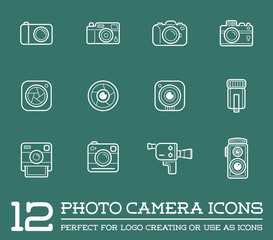 Set of Vector Photo or Camera Elements and Video Camera Signs Illustration can be used as Logo or Icon in premium quality
