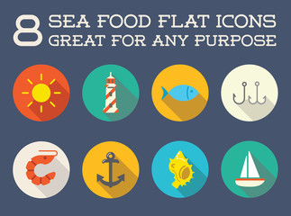 Set of Vector Sea Food Elements and Sea Signs Illustration can be used as Logo or Icon in premium quality Flat Icons