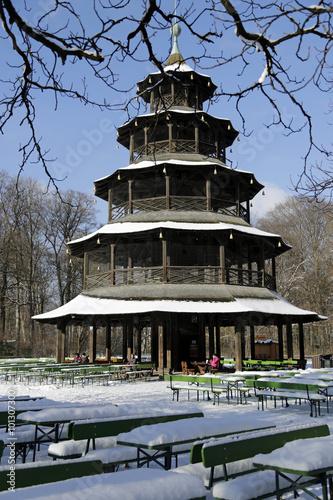 Englischer Garten In München Der Chinesische Turm Im Winterlichen