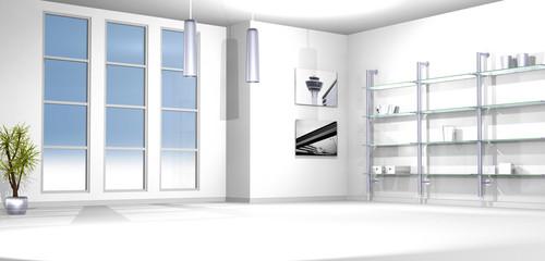 Leerer Raum / Wohnzimmer mit Regalwand