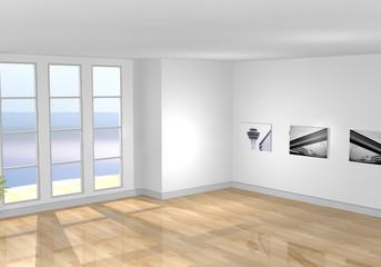 Leerer Raum / Schlafzimmer Parkettboden draufsicht
