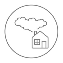 Save energy house line icon.